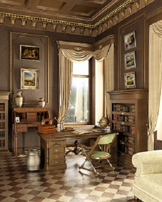 Classic old studio. With working place desk and several antique objects. Window on garden.