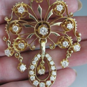 14k Gold And Diamond Brooch Pendant