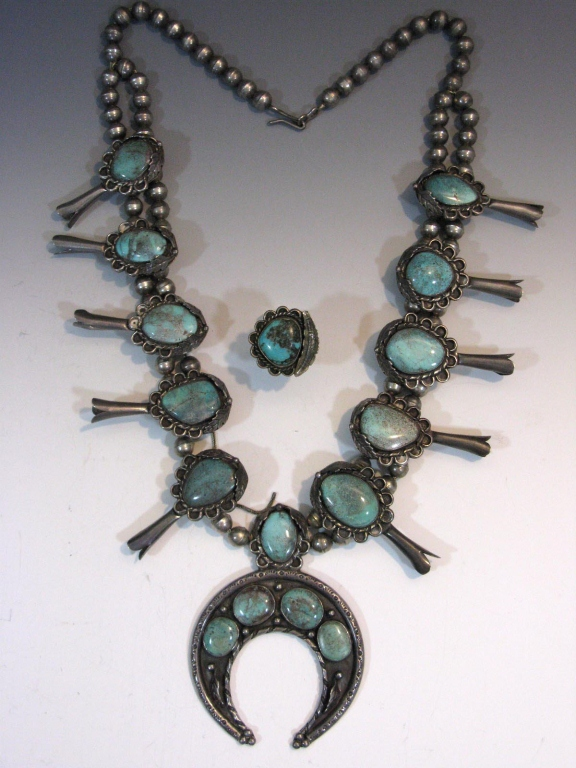 Navajo Squash Blossom & Naja Necklace With Turquoise